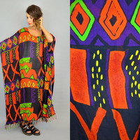 draped BATIK vintage 90's geometric FRINGED CAFTAN oversized dress loungewear, one size its fits all