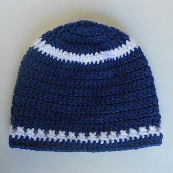 Toddler  Blue Hat With White Stripes  Baby  Girl Cap Boy  Winter Beanie 1 To 2 Years Old Infant Skullcap Gender Neutral Fall Clothing
