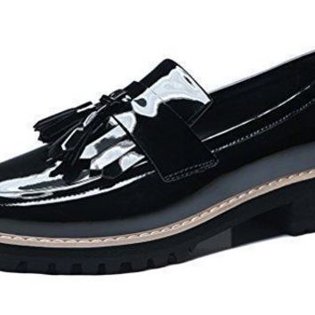 GuciHeaven Women's Slip On Work Shoe Patent Leather Tassels Loafer Flat