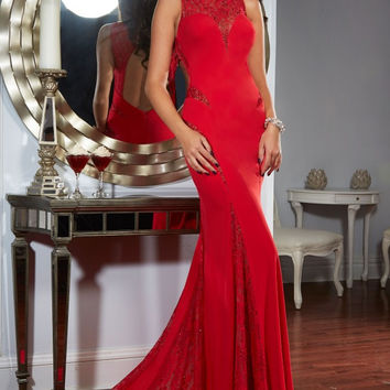 Custom Made Prom Dress 2016 Red Sleeveless Mermaid With Keyhole Back Sweep Train Plus Size Evening Gowns