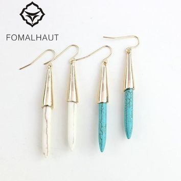 FOMALHAUT Bohemia greenstone water droplets Gold color Pendientes Drop Earrings For Women Jewelry 2015 EJ-029