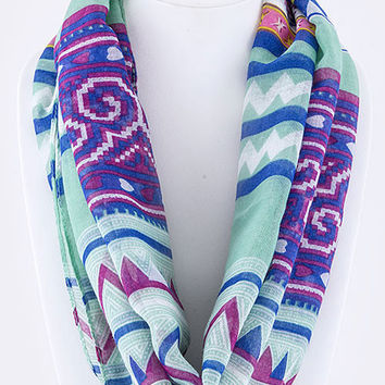 Tribal Print Infinity Scarf in Mint