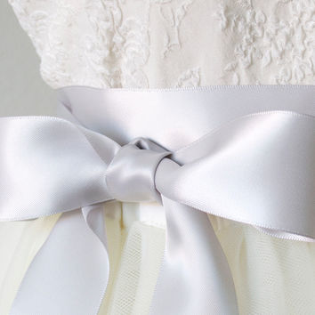 Bridal Satin Ribbon Belt - Light Pearl Grey, 1.5 Inches Wide