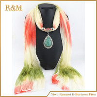 2016 new arrival Charms Shawl Water Drop Pendant Necklace colored  Scarves Jewelry free shipping