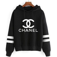 Chanel Women Sport Casual Stripe Multicolor Letter Print Long Sleeve Hooded Sweater Sweatshirt Hoodie Tops