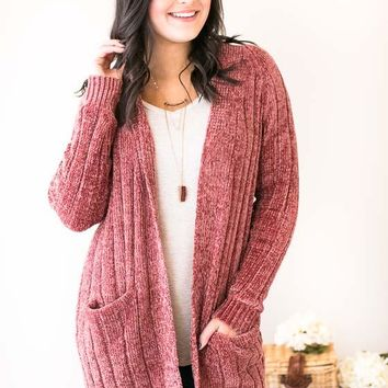 Elyse Pink Ash Chenille Long Cardigan