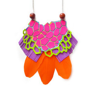 Neon Pink Statement Necklace, Leather Geometric Necklace, Hexagons Metallic Bib Necklace | Boo and Boo Factory - Handmade Leather Jewelry