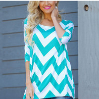 Wave Print Round Neck T Shirt