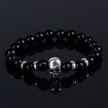 Fashion Natural Stones Skull Bracelet Lava Stone Beads Men Bracelet