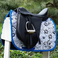 Ready to Ship - Black, White, and Blue Floral Dressage Saddle Pad