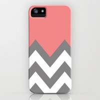 CORAL COLORBLOCK CHEVRON iPhone Case by nataliesales | Society6