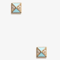 Lacquered Rhinestoned Pyramid Studs