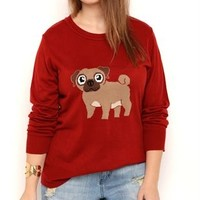 Plus Size Long Sleeve Crew Neck Sweater with Pug Screen