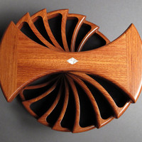 Bubinga Wood Jewelry Box,  Secret Compartments, 'The Helical Box'