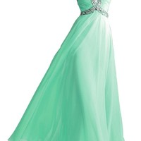 Women's A-line Sweetheart Sweep Chiffon Crystall Prom Dresses