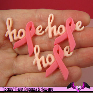 4 pcs HOPE PINK RIBBON Breast Cancer Awareness Resin Decoden Flatback Cabochons 29x31mm