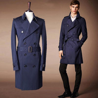 2014 New Arrivel Men's necessary tide Trench Coats Men's fashion Belt decoration Outerwear & Coats Men's Clothing