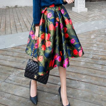 Design Stylish Strong Character Skirt Winter Trendy Print Dress Vintage Umbrella [184203411482]