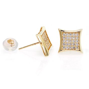 14k Gold, Medium Kite Mens Stud Earrings With Micro Pave Setting