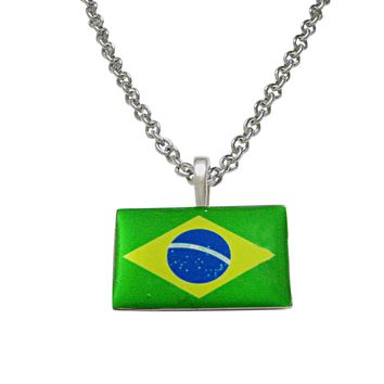 Brazil Flag Pendant Necklace