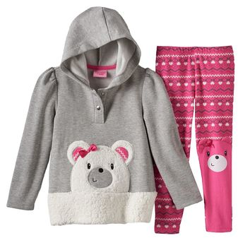 Nannette Polar Bear Hooded Tunic & Fairisle Leggings Set - Toddler Girl, Size: