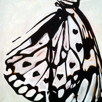 BUTTERFLY Painting, Butterfly Art, ORIGINAL art, ABSTRACT Painting, Abstract Art, Acrylic Painting, Large Painting, Black and White, Art