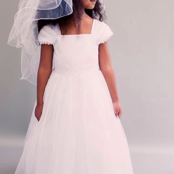 Pleated Sleeves & Lace Waist Satin & Tulle First Holy Communion Gown White or Ivory (Girls Sizes 4 to 16)