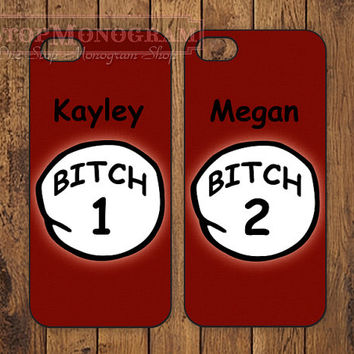 Customized Thing 1 and Thing 2 Bitch iPhone 4 4s 5 5s Case Cover - B008