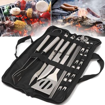 BBQ 18 In 1 Stainless Steel Utensil Grill Set Tools Outdoor Cooking BBQ Kit Carry Bag Camping Barbecue Tools Accessories