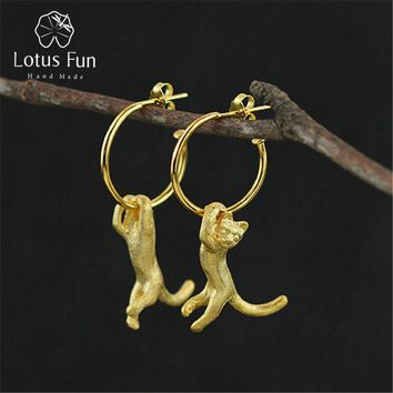 Lotus Fun Real 925 Sterling Silver Natural Creative Handmade Fine Jewelry Cute Kung Fu Cat Drop Earrings for Women Brincos