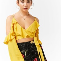 Open-Shoulder Wrap Crop Top