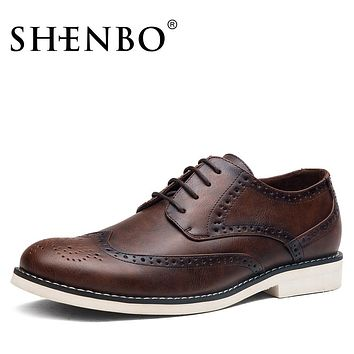 SHENBO Brand Fashion Brogue Men Oxford, Casual Oxford Shoes For Men, Fashion Men Dress Shoes