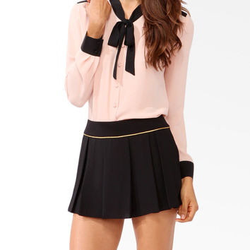 Contrast Self-Tie Blouse | FOREVER21 - 2021839995