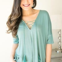 Sea Breeze Soft Lace Up Top with Tassels