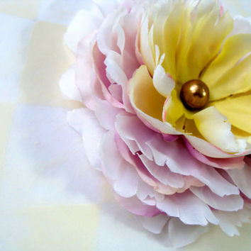 "Flower Hair Clip, Peony Hair Accessory, Pastel Fascinator, Repurposed Vintage Gold Button, Bridal Hair Flower - ""Let's Fall in Love"""