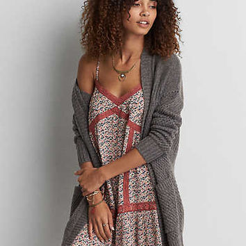 AEO Pointelle Open Cardigan , Dark Granite