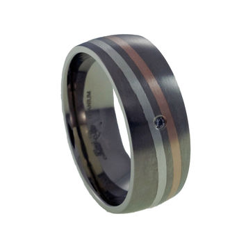 Titanium Rings Rose Gold and Silver Inlay