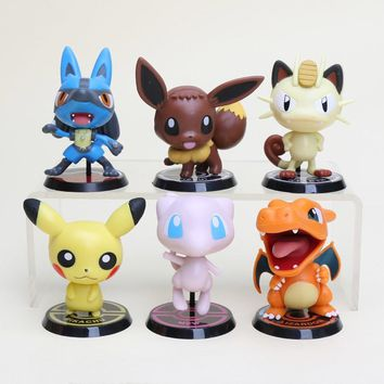 6pcs/set anime Eevee Lucario Mewtwo Charizard Venusaur Blastoise Anime Action Figure PVC model Toys Dolls Collection  Figurines
