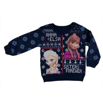 CREYON Frozen - Sisters Forever Toddler Ugly Christmas Sweater Blue Sweatshirt Day First