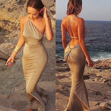 Beige Half Shoulder Knot Backless Maxi Dress