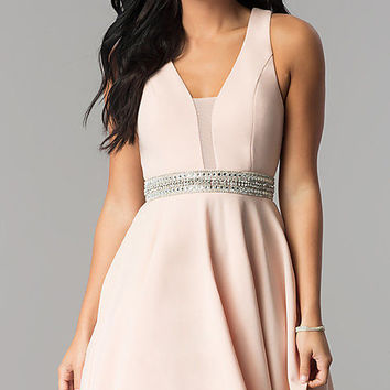 V-Neck Junior-Size Short Party Dress in Blush Pink