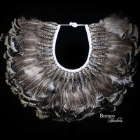 Fan Feather Necklace. Black-And-White Monochrome Tone; Handwoven Braided Base With Black Ribbed Seashells, Interior Home Decor Island Beach