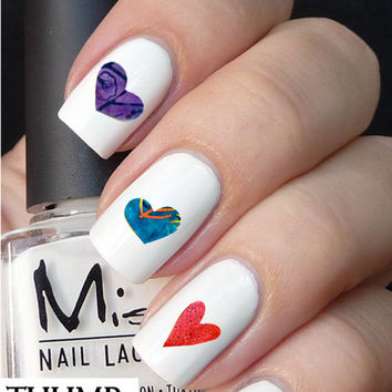 quilt heart nail decals 50pc
