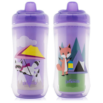 Dr Brown's BPA Free 2 Pack 10 Ounce Hard Spout Transition Cup - Girl Raccoon and Fox