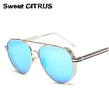 Sweet CITRUS New Fashion Steam Punk Aviator Sunglasses Men Brand Designer Vintage Mirror Sun Glasses for Women Reflective shades