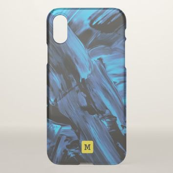Monogram. Modern Free Flow Cool Paint Colors. iPhone X Case