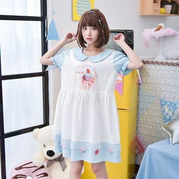Mori Girl 2016 Summer Women Peter Pan Collar Dress Pink Students Short Sleeve Loose Summer Dress Voile Print Cute Cotton Kawaii