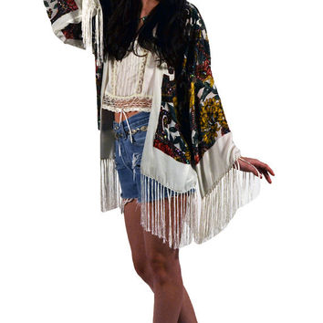 White Floral Paisley Velvet Burnout Gypsy Beaded Fringe Kimono Jacket