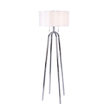 Quadratic Chrome Two Light Floor Lamp Kenroy Home Armchair/Task Floor Lamps Lamps