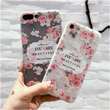 VOXLINK 3D Relief Rose Phone Case for iPhone 6/6s Soft TPU bumper Anti-Scratch Back Cover For iPhone 6 iPhone 6s Case Shell